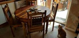 Sheeshan wood dining table and 4 chairs