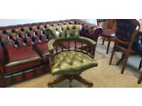 Genuine Chesterfield Captain Black green leather chair!