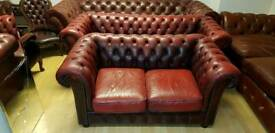 Lovely ox blood red lather Chesterfield 3+2setter