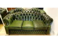 Lovely 3pieces green leather Chesterfield, 3+1+1setter, Excellent condition