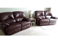 2 x Double Burgundy Leather Sofas (reclining)