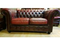 Lovely ox blood red 2setter Chesterfield sofa. Very good condition