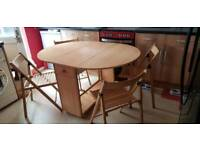 Butterfly drop leaf table and 4 chairs