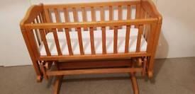 Glider Crib, mattress, crib set and sheets