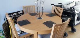Oak dining table - extending