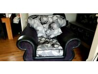 Fabric 2 seater sofa and chair for sale
