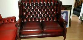 excellent condition ox blood high bage Quinn Anne Chesterfield armchair