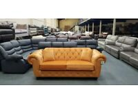 New Chesterfield style mustard velvet fabric 3 seater sofa