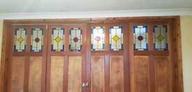 Pine doors with stained glass inserts