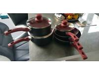 Russell Hobbs red pot and pan set