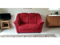 2 x 2 SEATER SOFAS IN FABRIC COVER - Cranberry Red Colour