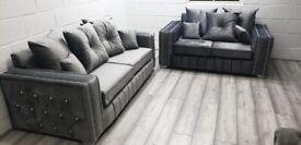 Plush Velvet Grey 3 + 2 Layla Sofa on Sale