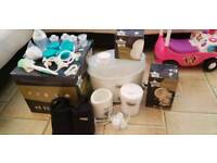 Tommee tippee steryliser, breast pump, baby bottle holders and food containers