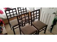 4 wooden dinning table chairs and antique table