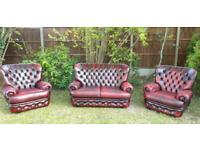 Stunning Thomas Lloyd Oxblood Red Leather Chesterfield Sofa Suite