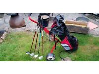 Junior golf trolley bag and clubs