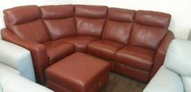 Corner Unit in quality italian leather /Alll Electric . Recliners + Footstool