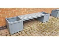 Grey Bench Planter Seat for Garden Patio
