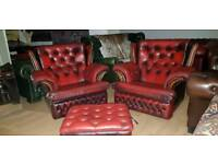 Beautiful 3pieces set ox blood red lather Chesterfield high bage armchair with large footstool box
