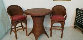 Rattan Bar Table and 2 Swievel Armchairs