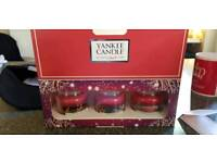 Small Yankee candles set of 3 Xmas candles for sale
