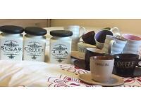 Bundle-Tea, Coffee, Sugar Jars & Cups