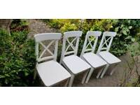 4 immaculate INGOLF IKEA white wooden chairs