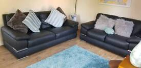 3 seater and 2 seater Black Leather Sofas 3+2