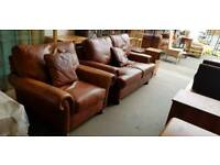 Brown leather two seater sofa with chair