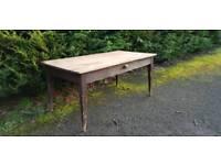 LARGE Antique pine farmhouse rustic kitchen table.