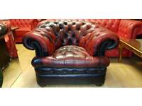beautiful antique ox blood lather Chesterfield club chair, Lovely condition