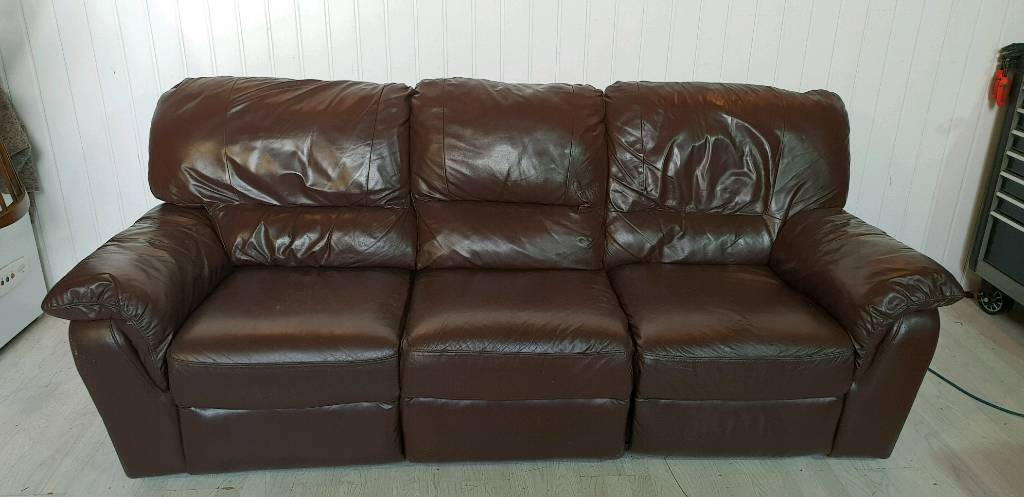 Brown Leather Electric Recliner Sofa In Dundee Gumtree
