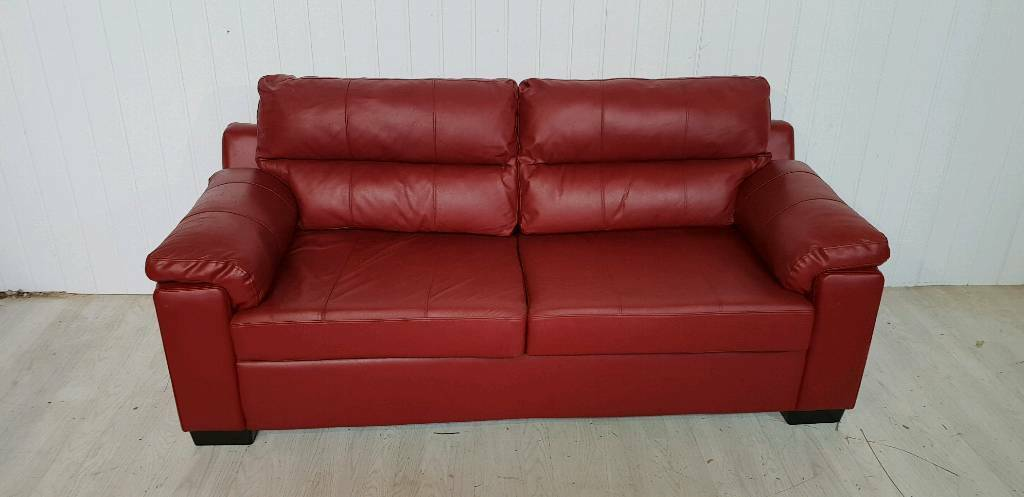 Red/Burgundy Faux Leather Sofa Bed