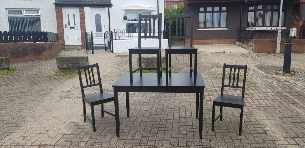 Black Wood Dining Room Table With Four Chairs £85