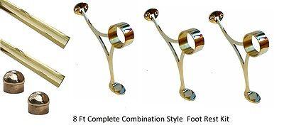 8 FT. BRASS BAR RAIL-BAR RAILING-FOOTRAIL KIT COMPLETE SETUP