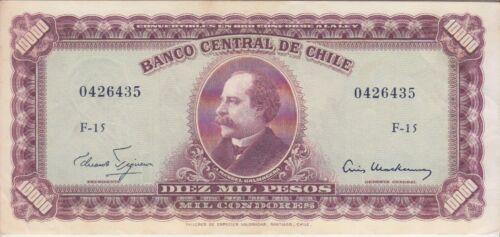 Chile Banknote P132-6435 10 Escudos o/p on 10,000 Pesos, EF
