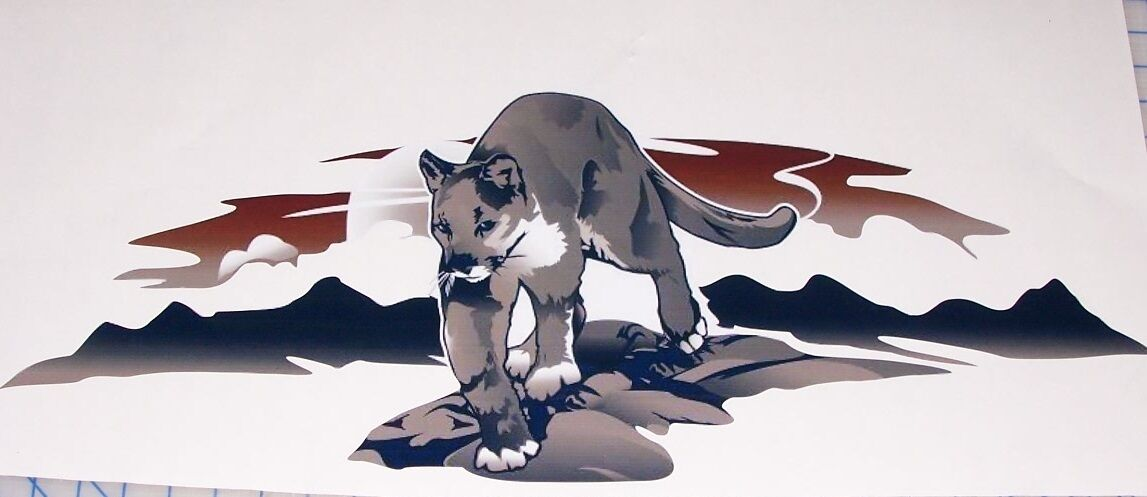 GRAY Cougar Big Cat decal Camper RV motorhome mural graphic decals tailgate