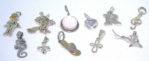 13.76 GRAMS ELEVEN  ASSORTED STERLING SILVER CHARMS PENDANT CLOSEOUT ASJC29
