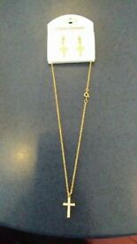 Diamante gold cross necklace and earrings set. 14'' long. No. 10