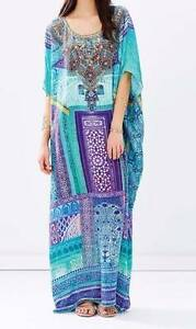 Camilla 100% Silk Ottoman Print Full Length Kaftan - OS Northbridge Willoughby Area Preview