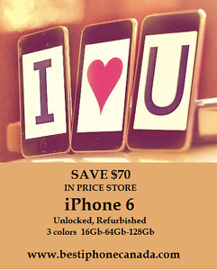 iPhone 6 , 6s Refurbished-Unlocked-3 colors from $399