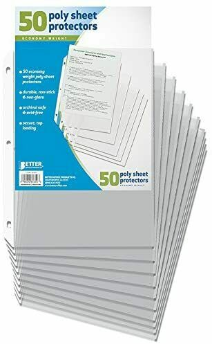 50 Sheet Page Protectors Office Clear Plastic Document Paper Binder Sleeves NEW