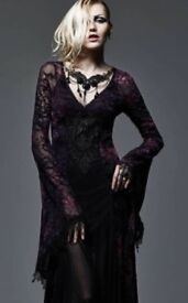 Punk-Rave-Gothic-Medieval-Goth-Lace-Opium-Dress-Flares