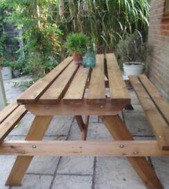 Picnic Garden patio wooden table Bench