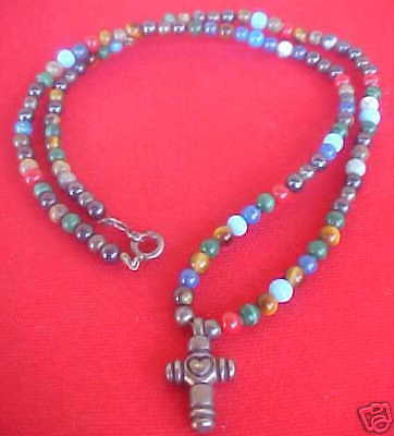 Vintage Heart Design Sterling Cross On A Bead Necklace