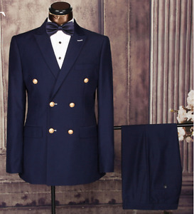 New men's slim navy double breasted suit from Hong Kong 38- 40r