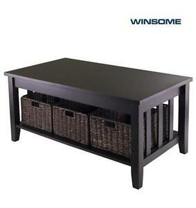 NEW* WINSOME MORRIS COFFEE TABLE 92441 - COFFEE TABLE WITH 3 FOLDABLE BASKETS - HOME FURNITURE 105452428