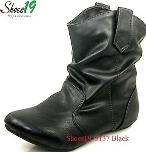 flat comfy ankle high leather slouch boots shoes black ebay