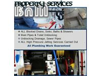All Blocked Drain Cleaning, toilet, shower, bath, sink, manhole, sewer & pipe Unblocking services