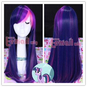 55cm long mixed purple/pink My Little Pony Twilight Sparkle CB28+a free wig cap